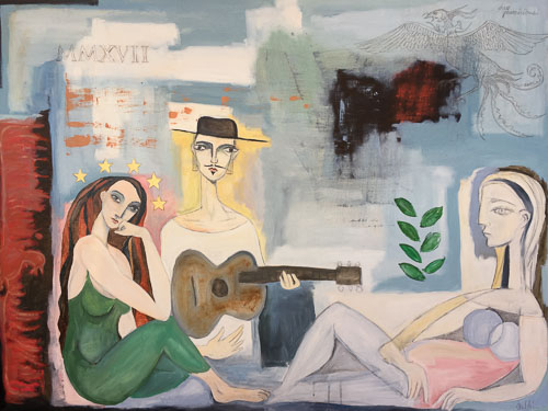 Artwork featuring two women and man with guitar