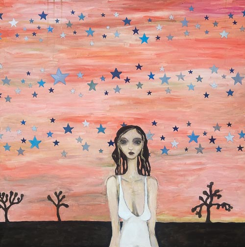 Artwork featuring woman amid joshua trees and stars