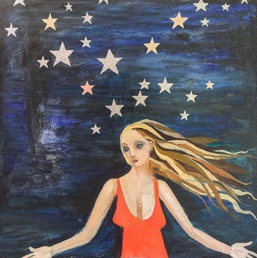 Artwork featuring woman with stars