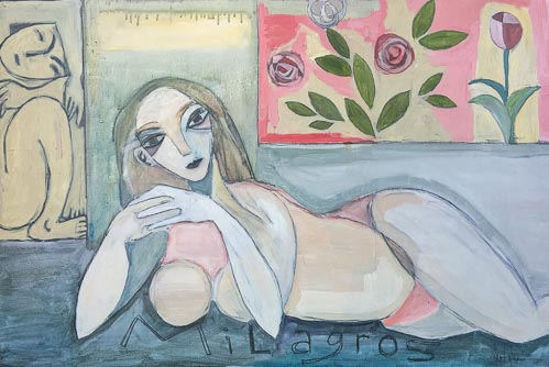 Artwork featuring woman reclining