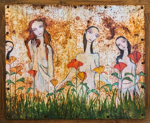 Artwork featuring four women among poppies