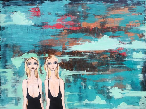 Artwork featuring two sisters amid striking blue background