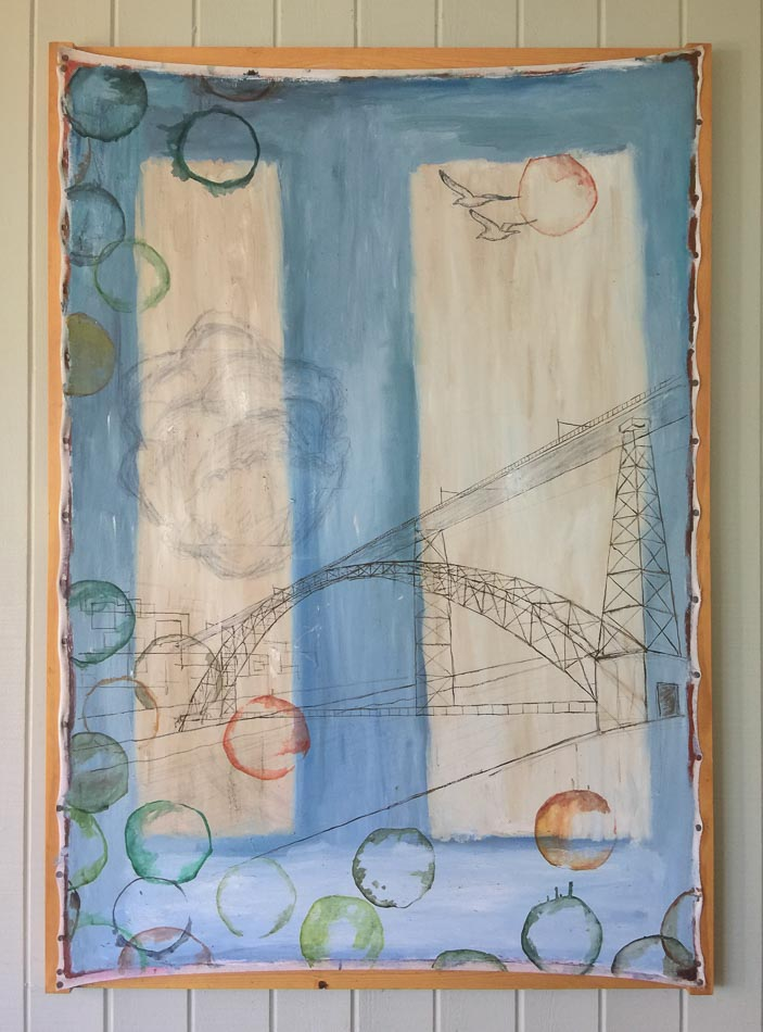 Artwork featuring birds, bridge and circles