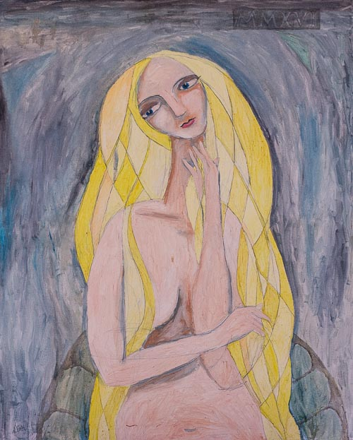 Artwork featuring woman long blond hair